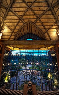 Animal Kingdom Lodge lobby at dusk