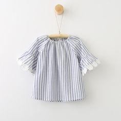 5074d02ec1c Striped Sunflower Flare Sleeve Dress. Vintage Girls Dresses