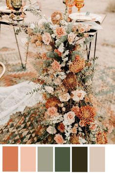 Wedding Color Trends: 30 Sunset Dusty Orange Wedding Color Ideas Tree desert wedding elopement with a boho theme and a trendy warm hued color palette Palm Springs, Wedding Centerpieces, Wedding Bouquets, Wedding Decorations, Centerpiece Ideas, Wedding Dresses, Decor Wedding, Wedding Gifts, Elope Wedding