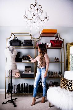 21 MAR, 2018 How To Care For Designer Shoes & Bags - Outfit Details: Majorelle Pink Sweater L'Agence Denim Christian Louboutin Nude Heels Chloé Nile Bracelet Bag Gold Bookcases IKEA Gold Floor Mirror Pier 1 Imports Frenchy Mannequin Gucci Belt Best Closet Organization, Organization Hacks, Bathroom Organization, Organizing Ideas, Master Bedroom, Bedroom Decor, Blogger Home, Boutique Deco, Room Closet