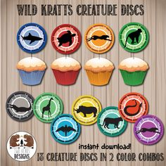 Wild Kratts Creature Discs. Perfect as Cupcake by TwoBearsDesigns