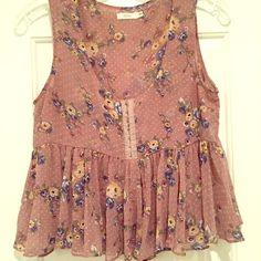 Vintage floral cropped tank My my LF store obsession days. From amazing French brand millau. Have a lot of pieces from them and the quality is good and long lasting. Great tank for layering Millau Tops Tank Tops