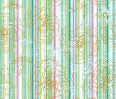 Floral Stripe fabric by cynthiafrenette on Spoonflower - custom fabric