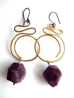 Items similar to Earrings, handmade with raw tourmaline gemstone chunks on bronze hoops by Bolder and Beautiful for Etsy on Etsy Tourmaline Gemstone, Earrings Handmade, Jewelery, Wire, Bronze, Drop Earrings, Gemstones, Etsy, Beautiful