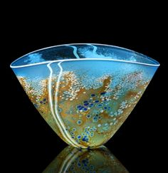 Art Glass Bowl Pattern Over Clear Agreeable Sweetness Studio Glass Isle Of Wight Glass British Glass