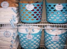 Organizational ideas for all over the house using baskets with this tutorial.  AND 45 of the BEST Home Organizational & Household Tips, Tricks & Tutorials with their links!! Party and event prep, too! from MrsPollyRogers.com