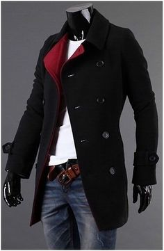 Men's Double Breasted Slim Fitting Wool Coat with Red Collar.- casual look Look Fashion, Winter Fashion, Mens Fashion, Fashion Trends, Fashion Coat, Fashion Dresses, Sharp Dressed Man, Well Dressed Men, Coat Dress