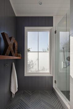 Vintage French Soul ~  Cool bathroom. Herringbone flooring