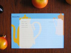 Tea Time Modern Recipe Cards by ESPG >> These are just too cute!