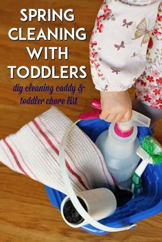 Spring Cleaning With Toddlers - full list of inside and outside chores for toddlers, preschoolers and young kids, plus how to make a kid-friendly cleaning caddy
