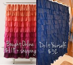 DIY: Ruffled Shower Curtain. Definitely for the new apartment. Maybe same idea for bedroom windows?