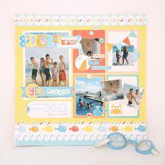 Cute summer layout using Echo Park Splash / beach / vacation scrapbook layout