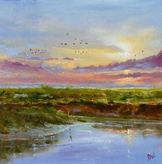 ARTFINDER: Norfolk Salt Marsh by Dan Wellington - A late evening scene, depicting the warmth and beauty of the North Norfolk coast line at Stewkey salt marshes. Giclee print of an original oil painting on h...