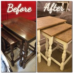 My little labour of love, shabby chic nest of tables, two tone, chalk paint and natural oak stain on sanded back mahogany