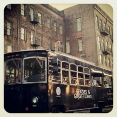 Take a haunted trolley tour through Savannah's Historic District..can't wait to do this someday !