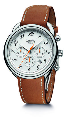 HERMES Arceau Chrono Bridon, with the stirrup-inspired bradoon strap that features reinforced saddle stitching. In steel, with a self-winding chronograph movement and Hermès signature orange hands. (Best Ladies Watch Bracelets of 2013) - Hautetime