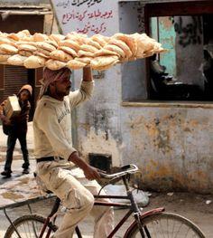 carrying bread .pakistan