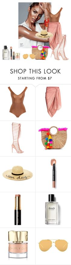 """Beach hair, don't care"" by curlysuebabydoll ❤ liked on Polyvore featuring Zimmermann, Casadei, Eugenia Kim, Bobbi Brown Cosmetics, Smith & Cult and Linda Farrow"
