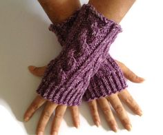 SALE Fingerless Gloves Wrist Warmers in Purple by MadebyMegShop