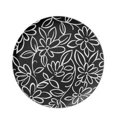 Cute black white flowers pattern background design party plate $24.95
