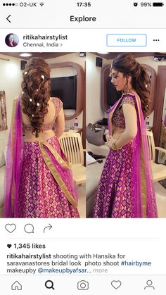 South indian diva Hansika in half saree photos in purple half saree for Saravana stores Ad shoot. She looked eye catchy in backless blouse. Bridal Hairstyle Indian Wedding, Bridal Hair Buns, Bridal Hairdo, Hairdo Wedding, Indian Bridal Hairstyles, Ethnic Hairstyles, Lehenga Hairstyles, Hairstyles For Gowns, Bride Hairstyles