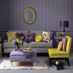 I like the pop of yellow in this room - adds a bit of happiness :) Grey, Purple, and Yellow Living Room
