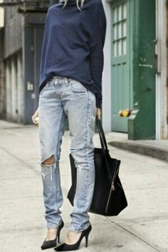 sloppy chic. Love these ripped skinny jeans with black heels