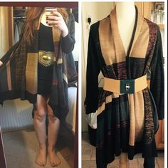 Beautiful Curio lightweight sweater coat Gorgeous colorblocked sweater coat in beautiful earthy colors. Brand new. Never worn . No tags attached. Retails for $189.     53% cotton 43% acrylic 4% other fiber.                Wear it many different ways as shown.                  Belt not included. Curio Jackets & Coats
