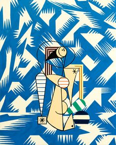"Farah Atassi ""The Swimmer,"" 2017 Oil and enamel on canvas Stuart Davis, Decorative Screens, Art Walk, Everyday Objects, Cubism, Mid Century Design, Shades Of Blue, Sculpture Art, Print Patterns"