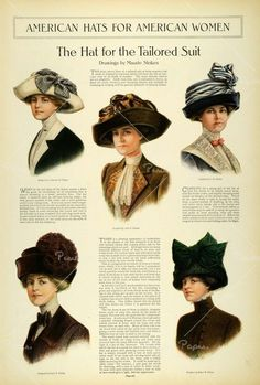 Edwardian Fashion Hat Print for Women from The Ladies Home Journal September, 1911 (Digital Image). Thank you, Etsy. Edwardian Clothing, Edwardian Dress, Edwardian Era, Edwardian Fashion, Historical Clothing, Vintage Fashion, 1900 Clothing, Golf Clothing, Vintage Couture