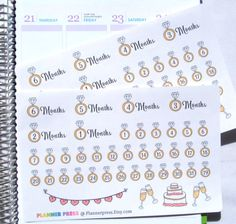 Wedding Countdown Planner Sticker for Erin Condren Life Planner (ECLP) Reminder Sticker 1707