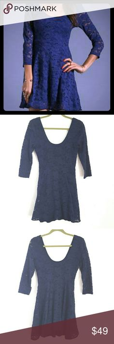 Free People blue eyelet skater dress EUC. Free People blue eyelet skater dress. Size tag is cut out, but it's a S. Shell: 62% cotton 37% nylon 1% spandex Lining: 100% Rayon. machine wash. Free People Dresses Mini