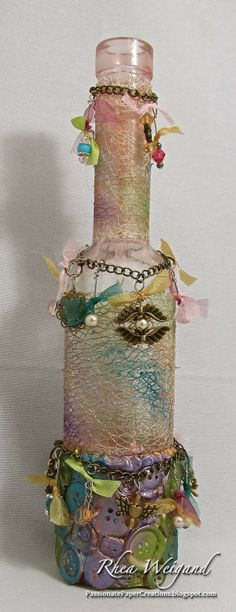 New Post from May Arts Blog Altered Bottle: Charming Bud Vase