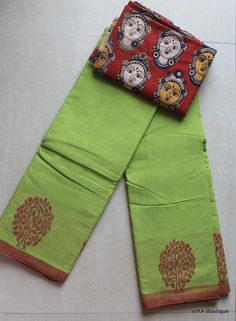 A must have for all cotton lovers, here we have got pure handloom sarees, soft cotton sarees, most of them are official wear. Blue Silk Saree, Cotton Saree Blouse, New Blouse Designs, Saree Blouse Designs, Kalamkari Dresses, Kalamkari Blouses, Saree Color Combinations, Sari Design, Indian Fashion Trends