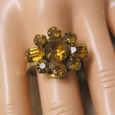 1950 60s Golden Rhinestone Dinner or Cocktail Ring by PandPF, $15.50