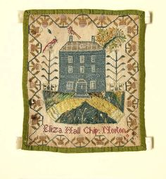 Cotton sampler embroidered with polychrome silks in cross, satin, chain and stem stitch with a little couching. The edges are bound with green watered silk ribbon. A repeating strawberry border encloses a picture of a house and garden with underneath it and inscription which reads ' Eliza Hall Chip: Norton'.