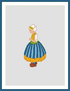 Cross Stitch Pattern - Dutch Girl - National Costume - PDF E-mail £2.50 http://folksy.com/items/6811544-Cross-Stitch-Pattern-Dutch-Girl-National-Costume-PDF-E-mail