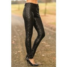 Ready For Anything Sequin Leggings-Black - $42.00