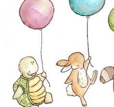 Children Art Print. Balloon Parade. PRINT 8X10. by LoxlyHollow, $24.00