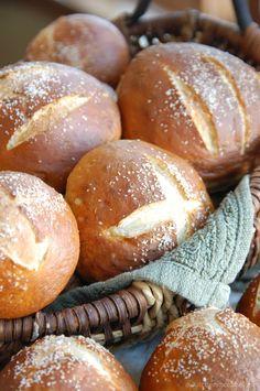 pretzel rolls. baking ~ homemade ~ bread ~ salt.