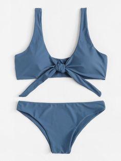 30ae656ee8 Knot Front Plain Bikini Set -SheIn(Sheinside) Summer Bathing Suits, Summer  Suits