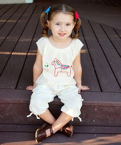 Another great find on #zulily! Natural Dalahäst Embroidered Top - Infant, Toddler & Girls #zulilyfinds