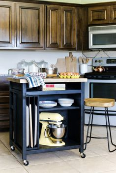 LIKE THE COLOR How to build a DIY kitchen island on wheels~big enough for a microwave; no wheels, edging to keep MW from sliding off