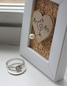 Wedding Ring Holder Frame Rustic Shabby Chic by thepaperynook, $12.95