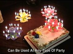 Flower Musical Birthday Candles. Various colours available. Can be found on Amazon to buy.