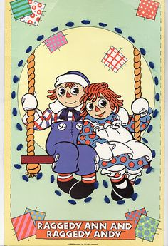 Vintage children& sewing card featuring characters from the beloved stories of Raggedy Ann and Andy. The yarn threads are as I found them in the box. Pull Wagon, Family Photo Collages, Sewing Cards, Childrens Christmas, Childrens Books, Yarn Thread, Raggedy Ann And Andy, Holly Hobbie, Classic Cartoons