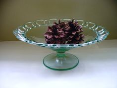 Cake Stand Green Vintage Vaseline Depression Glass by kzannoart