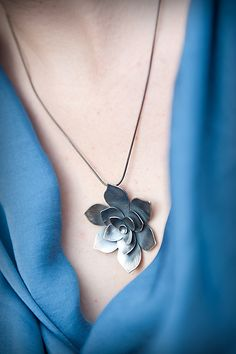 Aeonium Pendant by Moira K. Lime: Silver Necklace available at www.artfulhome.com