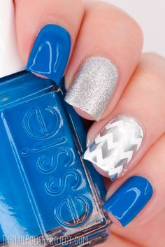 Blue and Silver Skittlette Nail Art