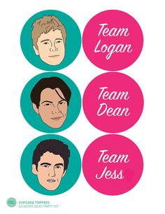 If youre throwing a Gilmore Girls viewing party for the Netflix Revival, these cupcake toppers are perfect to get your guests rooting for their favorite Gilmore Guy! This template is formatted to print on a standard letter size paper (8.5 x 11). Tip: For larger favor boxes, change your print settings to fit to print on 11 x 17. ==================== YOU WILL RECEIVE ====&#x3...